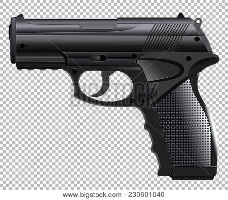 Powerful Automatic Pistol, Gun, Handgun, Vector Illustration