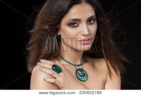Portrait Of Beautiful Woman With Sensitive Sexy View, Silver Glitter Nails Design And Jewelery With