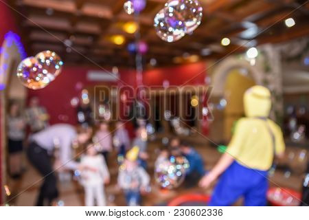 Soap Bubble Show, Birthday Party, Entertainment For Children, Blurry Background