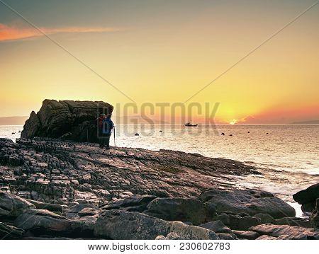 7th Of February 2017, Isle Of Skye, Scotland. Group Of Photographers In Elgol. Popular Sunset Photog