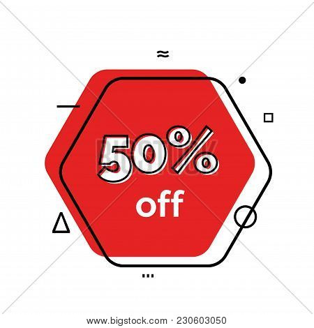 Fifty Percent Off Lettering On Hexagon. Sale Design Element. Typed Text, Calligraphy. For Posters, B