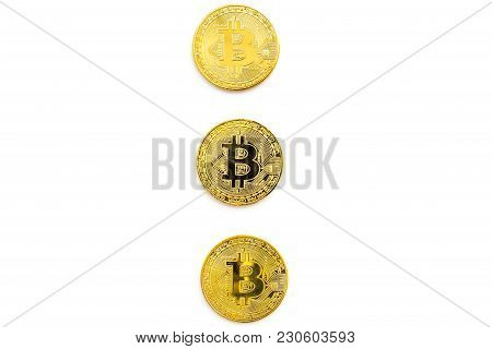 Cryptocurrency Physical Golden Bitcoin Coins For Changing Or Selling On White Desk Background Top Vi