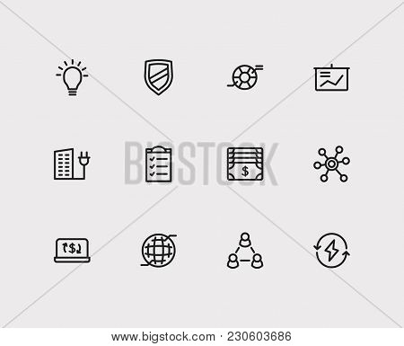 Business Icons Set. Money And Business Icons With Ecommerce, Integrity Value And Web. Set Of Element