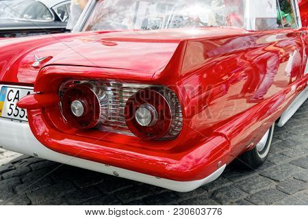 Kharkiv, Ukraine - May 28, 2017: Tail Fin And Rear Lights Of Retro Car Ford Thunderbird Manufactured