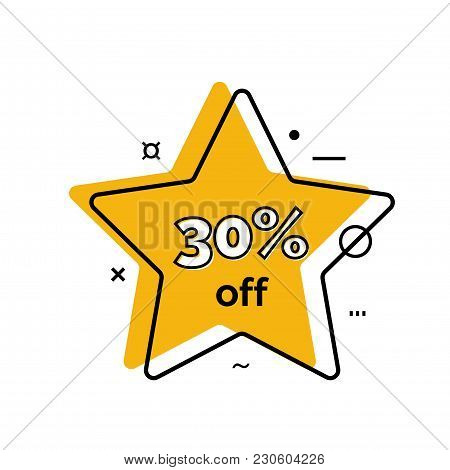 Thirty Percent Off Lettering On Star. Sale Design Element. Typed Text, Calligraphy. For Posters, Ban