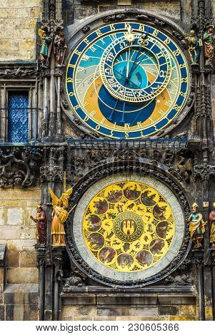 The Prague Astronomical Clock Mounted On The Southern Wall Of Old Town Hall In The Old Town Square