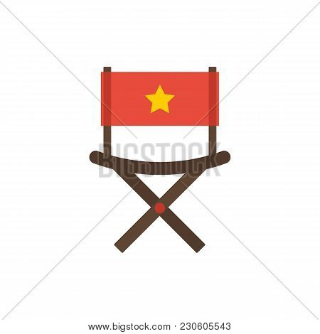 Cinema Director Chair Icon Flat Symbol. Isolated Vector Illustration Of Director Armchair Sign Conce