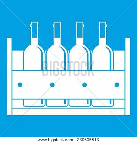 Four Bottles Of Wine In A Wooden Box Icon White Isolated On Blue Background Vector Illustration