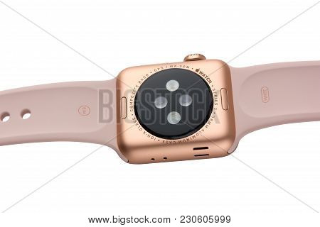 February 2018. Apple Watch Series 3 Colors Gold Aluminum Case With Pink Sand Sport Band. A New Watch