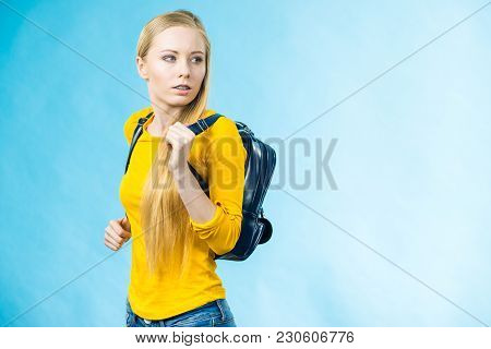 Blonde Teenage Girl Going To School Or College Wearing Stylish Backpack. Outfit Trendy Accessories.