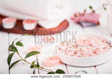 Handmade Salt Peach Scrub With Argan Oil. Himalayan Salt. Toiletries, Spa Set With Candles And White