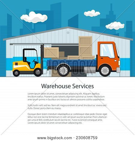 Brochure Of Warehouse And Delivery Services , Forklift Truck And Small Cargo Car With Boxes , Unload