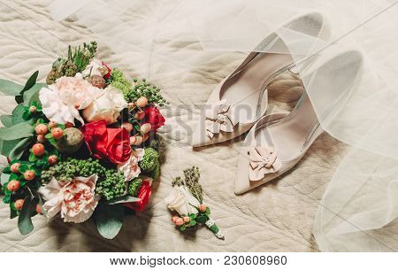 Morning Bride Conceptual Shoes Bouquet Bridal Veil