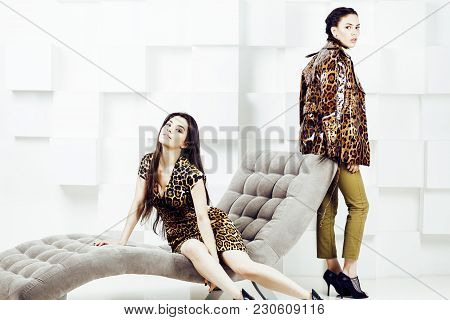 Pretty Stylish Woman In Fashion Dress With Leopard Print Together In Luxury Rich Room Interior, Life