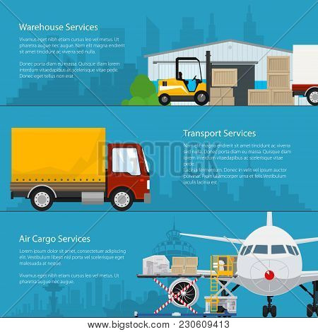 Set Of Horizontal Cargo Delivery Banners, Transportation And Air Cargo Services And Storage, Warehou