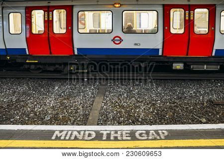 London, Uk - March 10, 2018: Mind The Gap, Warning In The London Underground - Uk