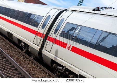 Fuerth / Germany - March 11, 2018: Ice 3, Intercity-express Train From Deutsche Bahn Passes Train St