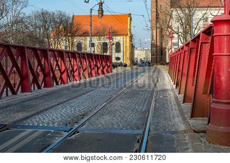 Wroclaw, Poland - March 4, 2018: View Of Wroclaw Old Town Historic Area In The Evening.
