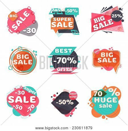 Set Of Modern Sale Labels. Collection Symbols Such As Special Offer, Hot Sale, Best Price, Big Sale,