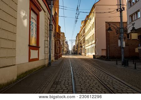 Wroclaw, Poland - March 9, 2018: View Of Wroclaw Old Town Historic Area In The Evening.
