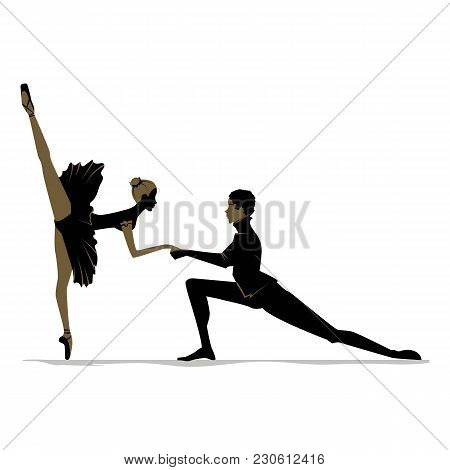 Silhouette Of Duet Young Dancers. Vector Illustration, Sketch.