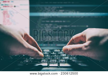 Coding Code Program Programming Compute Coder Work Write Software Hacker Develop Man Concept - Stock