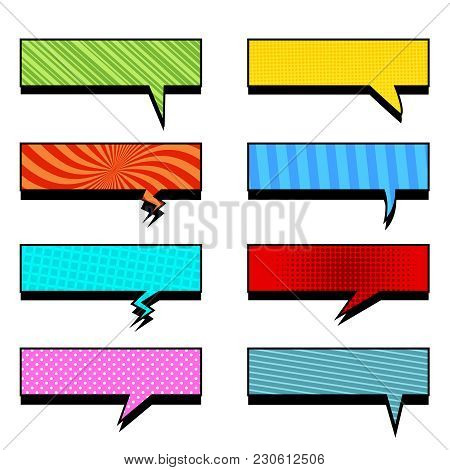 Comic Colorful Rectangular Speech Bubbles Collection With Slanted Lines Radial Grid And Dotted Effec