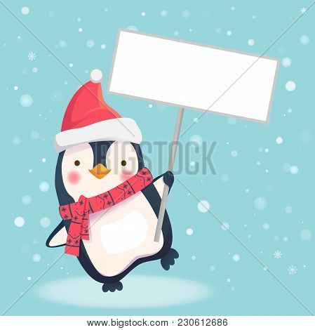 Cute Christmas Penguin With Santa Hat Holding Christmas Sign. Penguin Cartoon Illustration.