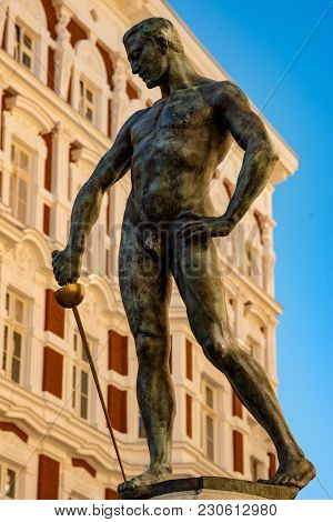 Wroclaw, Poland, March 9, 2018: View Of Naked Swordsman In The Square In Front Of The University Of