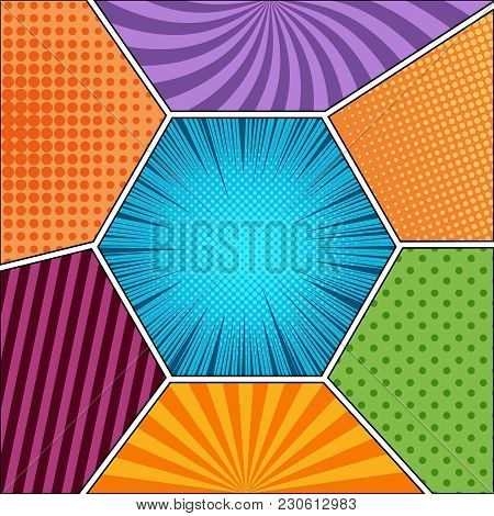 Comic Book Page Template With Different Humor Effects In Various Colors And Shapes. Vector Illustrat
