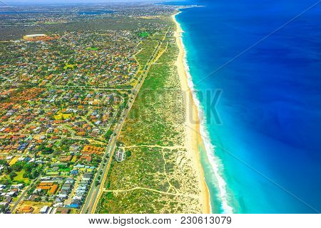 Aerial View Of Scarborough Beach At Coastal Suburb Of Perth, Western Australia, Located Approximatel