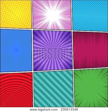 Comic Book Colorful Bright Template With Rays, Circle, Radial, Striped And Halftone Effects In Diffe