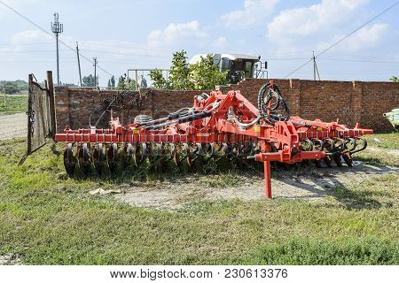 Russia, Temryuk - 15 July 2015: Soil Disintegrator, Deep Loosener On The Trailer. Trailer Hitch For
