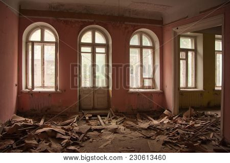Interior Of Old Ruined Room In Abandoned Mansion In Voronezh, Russia.