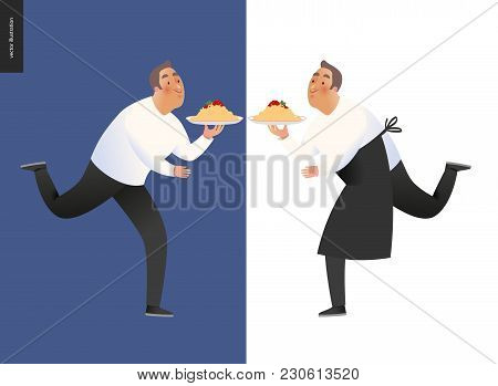 Italian Restaurant Set - Two Running Waiters Wearing The Uniform Holding A Dish Of Pasta With Red Bo