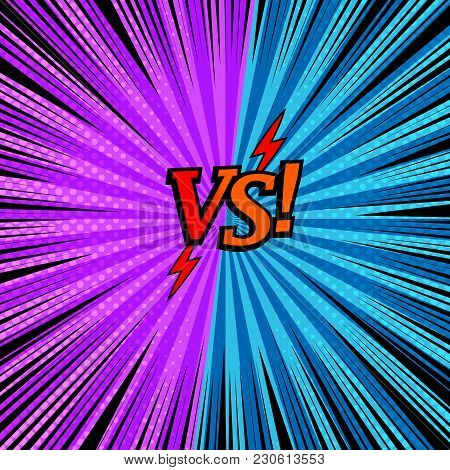 Comic Versus Fighting Background With Two Opposite Purple And Blue Sides, Arrows, Halftone Rays And