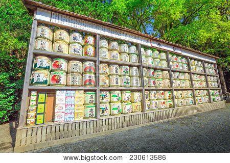 Kamakura, Japan - April 23, 2017: Japanese Sake Rice Wine Barrels With Decorative Writing In Tsuruga