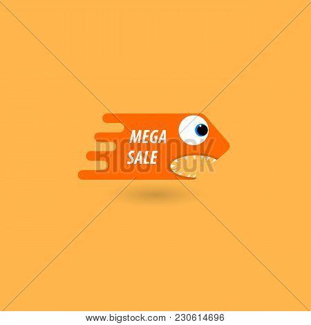 Comic Price Tag Mega Sale. Vector Illustration .