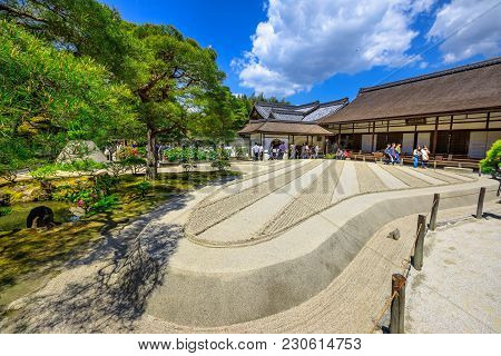 Kyoto, Japan - April 28, 2017: Tourists Around Zen Garden In Ginkakuji Temple. Ginshadan Sand Patter