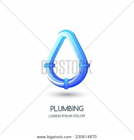Vector Plumbing Logo, Icon, Emblem Design Template. Blue Pipe In Water Drop Shape. Concept For Pipel