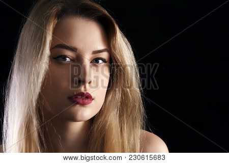 Marvelous Portrait Of A Very Elegant Woman In Her Thirties, Close-up Portrait Of A Very Beautiful Bl