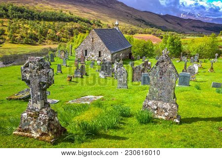 Glen Spean, Scotland, United Kingdom - May 24, 2015: Cille Choirill Cemetery With Ancient Graves In