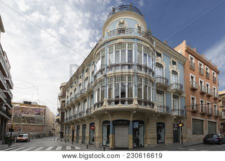 Facade Of The Colon Building In The City Of Orihuela.