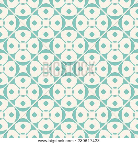 Vector Geometric Ornament Pattern With Rounded Shapes, Floral Silhouettes, Circles, Diagonal Grid. O