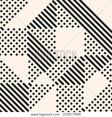 Vector Geometric Lines Pattern. Abstract Graphic Ornament With Stripes And Squares. Monochrome Urban