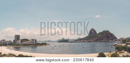 Panoramic View Of Rio De Janeiro From A High Point: Botafogo District With Bay, Multiple Yachts In T