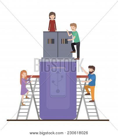Teamwork Mini People Doing Usb Vector Illustration Design