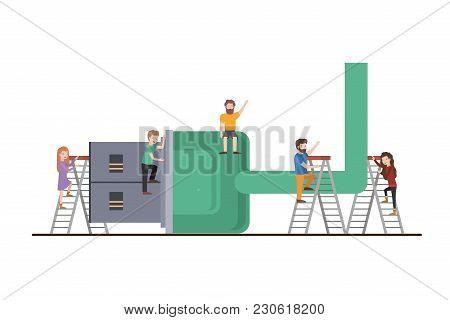 Teamwork Mini People Doing Usb Cable Vector Illustration Design