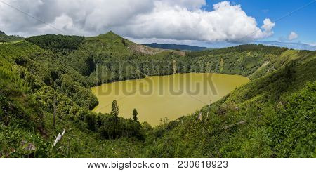 Panoramic view of Sao Tiago lagoon, Sao Miguel Island, Azores Portugal