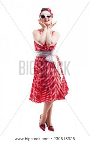 Hpappy smiling Pin up girl isolated on a white background